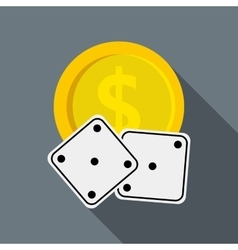 Dices and casino chip icon flat style vector image