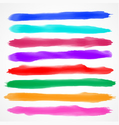 eight watercolor brush stroke collection vector image vector image