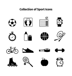 Fitness black icons vector image