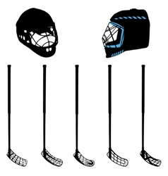 Floorball equipment for a logo or a cup vector