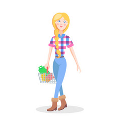 Girl with shopping basket flat cartoon vector