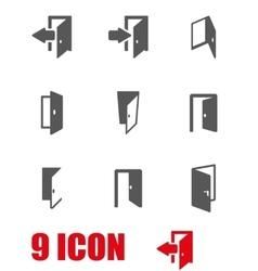grey door icon set vector image vector image