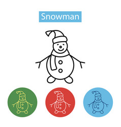happy snowman with hat and scarf vector image vector image