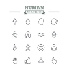 Human linear icons set thin outline signs vector