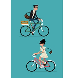 Man and woman on a bike vector