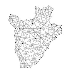 Map of burundi from polygonal black lines vector