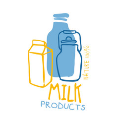 Milk products logo symbol colorful hand drawn vector