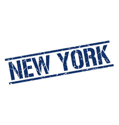 New york blue square stamp vector