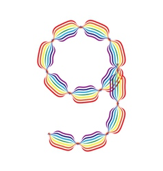 Number 9 made in rainbow colors vector image