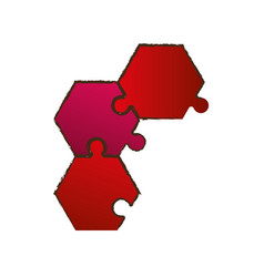 red puzzle pieces image vector image