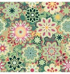 Seamless retro kaleidoscope flower background vector image vector image