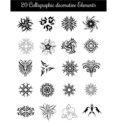 Set of calligraphic decorative elements vector image