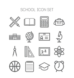 Set of simple icons for school and education vector image