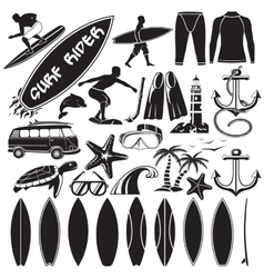 set of surfing design elements - surfers vector image