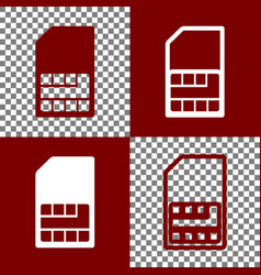Sim card sign bordo and white icons and vector