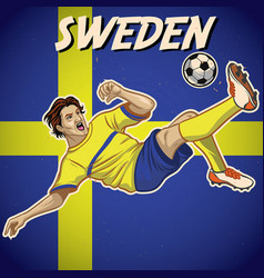 Sweden soccer player with flag background vector
