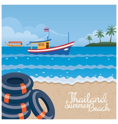 Thailand summer beach with swim ring boat island vector