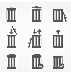 Trash Can Icons vector image vector image