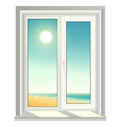 White plastic window and blue sky vector