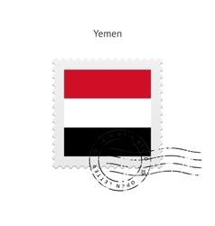 Yemen flag postage stamp vector