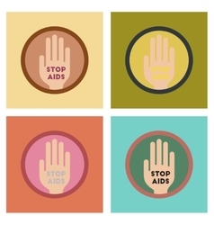 Assembly flat icons stop aids symbol vector