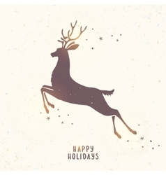 deer silhouette holiday vector image