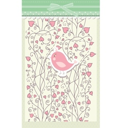 Card for valentine day with bird vector image
