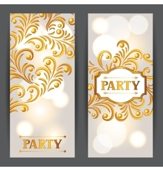 Celebration party banners with golden ornament vector image