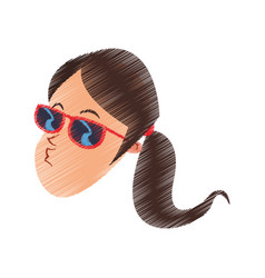 young woman cartoon icon image vector image