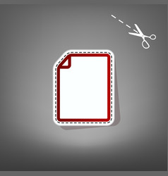 vertical document sign   red vector image