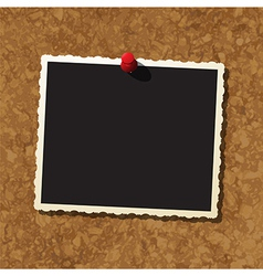 Photo frame on cork board vector