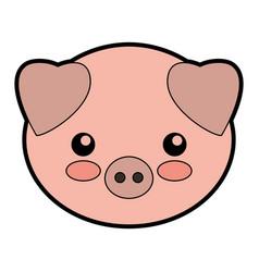 Cute pork cartoon vector