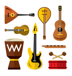 Set of musical instruments flat style vector