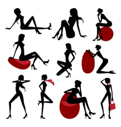 Fashion model silhouette set vector image