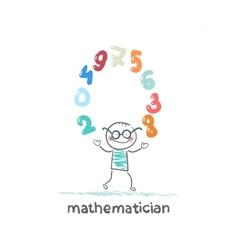 mathematician juggles figures vector image