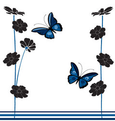vintage-butterflies-and-flowers vector image