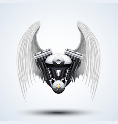 Retro motorcycle engine with white folded wings vector