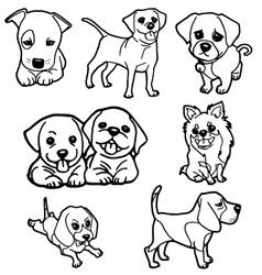 Puppy coloring book set vector