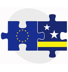 European union and curacao flags in puzzle vector