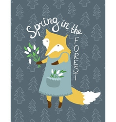 Cute card with fox and flowers bright can be used vector