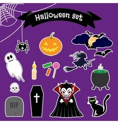 Halloween stickers set vector