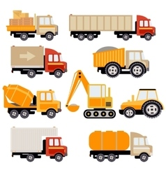 Work trucks flat set vector