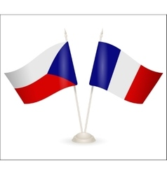 Table stand with flags of france and czech vector