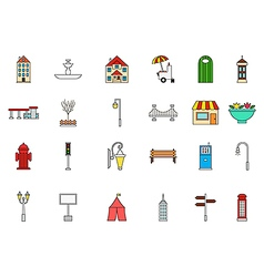 City elements colorful icons set vector image