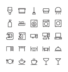 Hotel outline icons 2 vector