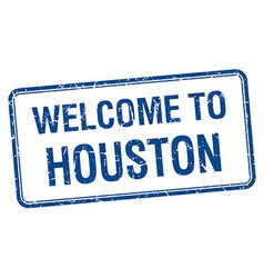 Welcome to houston blue grunge square stamp vector