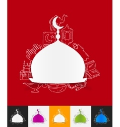 Mosque paper sticker with hand drawn elements vector