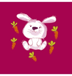 kiddy white bunny with carrot vector image
