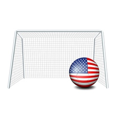 A soccer ball near the net with the flag of the vector image