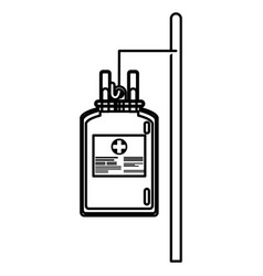 Bag blood hanging trasnfusion donation line vector